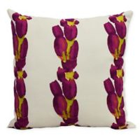 E by Design Market Flowers Sunset Tulip Stripe Square Throw Pillow in Purple