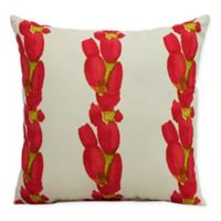 E by Design Market Flowers Sunset Tulip Stripe Square Throw Pillow in Red