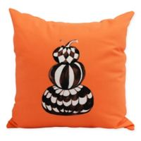 E by Design Witches Brew Pumpkin Stack Square Throw Pillow in Orange