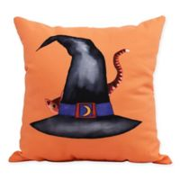 E by Design Witches Brew Cat Behind the Hat Square Throw Pillow in Orange