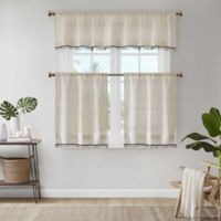 Madison Park Dalis Faux Linen 24-Inch Kitchen Window Curtain Tier Pair in Natural