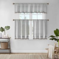 Madison Park Dalis Faux Linen 36-Inch Kitchen Window Curtain Tier Pair in Grey