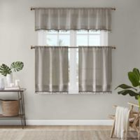 Madison Park Dalis Faux Linen 36-Inch Kitchen Window Curtain Tier Pair in Taupe