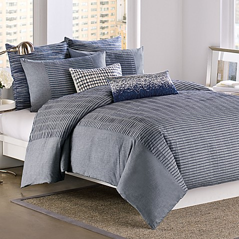 Dkny 174 City Rhythm Duvet Cover 100 Cotton Cobolt Bed