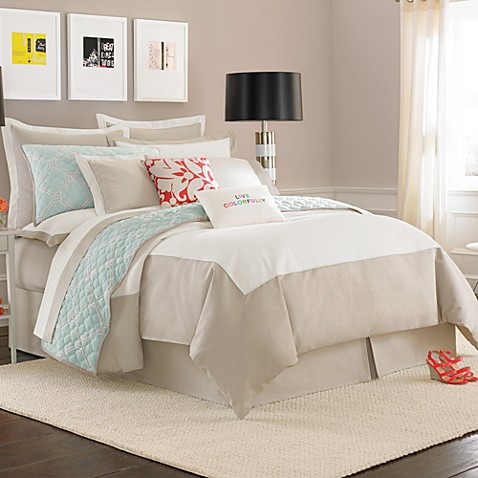 Kate spade new york spring street duvet cover in cream for Bed bath and beyond kate spade