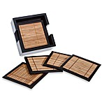 Bamboo and Leather Coasters with Holder (Set of 6)