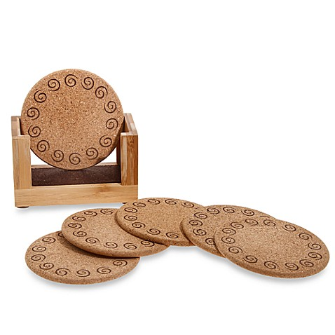 Cork and Bamboo Coasters with Holder (Set of 6)