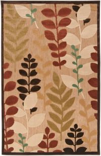 Surya Portera Floral 5' x 7'6 Indoor/Outdoor Area Rug in Brown/Green