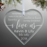 I Love Us Engraved Heart Christmas Ornament