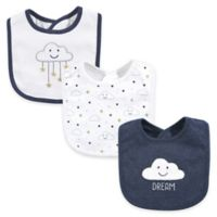Hudson Baby® 3-Pack Cloud Drooler Bibs in Navy