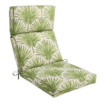 Outdoor High Back Chair Cushion in Green Palm