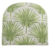 Print Indoor/Outdoor Stacking Wicker Seat Cushion in Green Palm