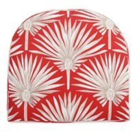 Print Indoor/Outdoor Stacking Wicker Seat Cushion in Spice Palm