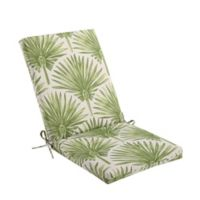 Indoor/Outdoor Folding Wicker Chair Cushion in Green Palm