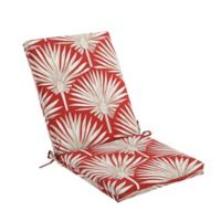 Print Indoor/Outdoor Folding Wicker Chair Cushion in Red Palm