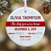 The Day You Were Born Personalized 1-Sided Glossy Christmas Ornament