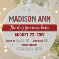 The Day You Were Born Personalized 1-Sided Matte Christmas Ornament
