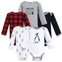 Hudson Baby® Preemie 5-Pack Long-Sleeve Penguin Bodysuits in White/Grey/Black
