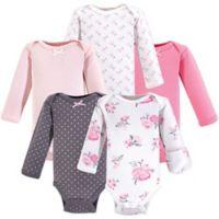 Hudson Baby® Preemie 5-Pack Floral Bodysuits in Pink