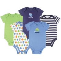 Luvable Friends® Size 3-6M 5-Pack Monster Bodysuits in Green