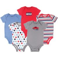 Luvable Friends® Size 9-12M 5-Pack Car Bodysuits in Red/Grey/Blue