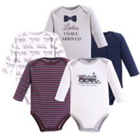 Hudson Baby® Size 18-24M 5-Pack Train Bodysuits in Blue