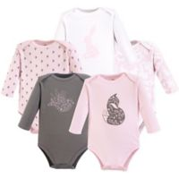 Yoga Sprout Size 18-24M 5-Pack Lace Garden Long Sleeve Bodysuits in Pink
