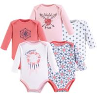 Yoga Sprout Size 18-24M 5-Pack Dream Catcher Long Sleeve Bodysuits in Pink