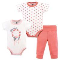 Yoga Sprout Size 0-3M 3-Piece Dream Catcher Bodysuit & Pant Set in Pink