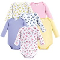 Luvable Friends® Size 9-12M 6-Pack Long Sleeve Floral Bodysuits in Pink