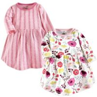 Touched by Nature Size 9-12M 2-Pack Botanical Long Sleeve Organic Cotton Dresses in Pink