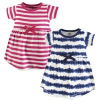 Touched by Nature Size 6-9M 2-Pack Tie Dye Stripe Short Sleeve Organic Cotton Dresses in Beige