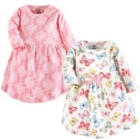 Touched by Nature Size 9-12M 2-Pack Butterflies Long Sleeve Organic Cotton Dresses in Pink