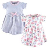 Touched by Nature Size 2T 2-Pack Rose/Stripe Short Sleeve Organic Cotton Dresses in Pink