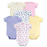 Luvable Friends® Size 9-12M 6-Pack Floral Short Sleeve Bodysuits in Pink
