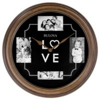 Bulova Time And Memories 18-Inch Wall Clock in Black/Brown