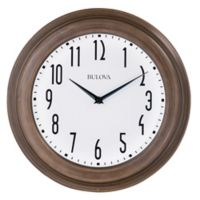 Bulova Beacon 14-Inch Wall Clock in White/Brown