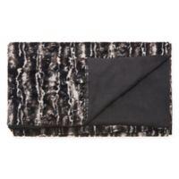 Mina Victory Fur Throw Blanket in Black/Silver