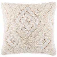 Textured Diamond Geometric Square Throw Pillow