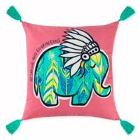 Rizzy Home Courageous Elephant Square Throw Pillow in Pink