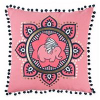 Rizzy Home Animal Medallion Square Throw Pillow in Pink