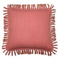 Woven Textured Solid Square Throw Pillow in Coral