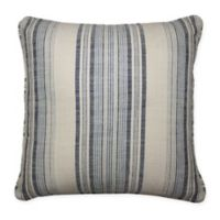 Woven Striped Square Throw Pillow in Navy