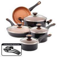 Farberware® Glide™ Nonstick Copper Ceramic 12-Piece Cookware Set in Black