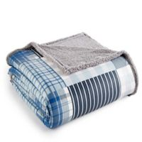 Micro Flannel® Reversible Twin Sherpa Plaid Blanket in Blue