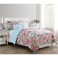 VCNY Home Lucia Reversible Twin Duvet Cover Set in Pink