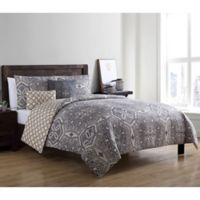 VCNY Home Belinda Reversible Full/Queen Duvet Cover Set in Taupe/Brown