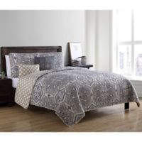 VCNY Home Belinda Reversible Twin Quilt Set in Taupe/Brown