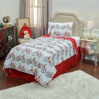 Rizzy Home Bicycle 2-Piece Twin Comforter Set in Red