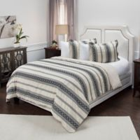 Rizzy Home Geometric Stripe Queen Duvet Cover Set in Brown